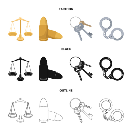 Scales of justice, cartridges, a bunch of keys, handcuffs.Prison set collection icons in cartoon,black,outline style vector symbol stock illustration web. Illustration