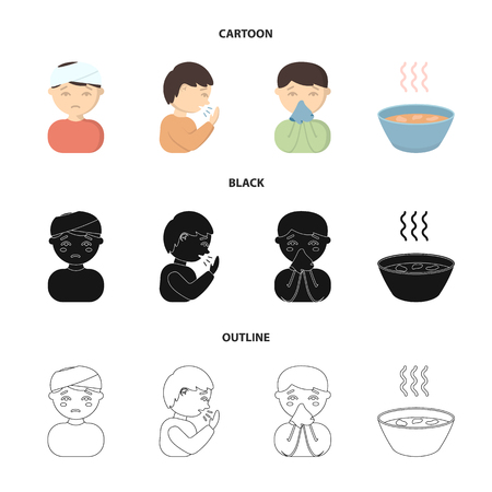 A man with a bandaged head, a man coughing, a man snorts a snot, a bowl, a bowl of hot broth into a handkerchief. Sick set collection icons in cartoon,black,outline style vector symbol stock illustration web.
