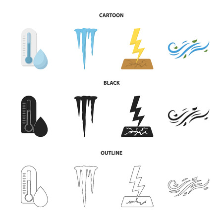 Humidity, icicles, thunderbolt, windy weather. Weather set collection icons in cartoon,black,outline style vector symbol stock illustration . 일러스트