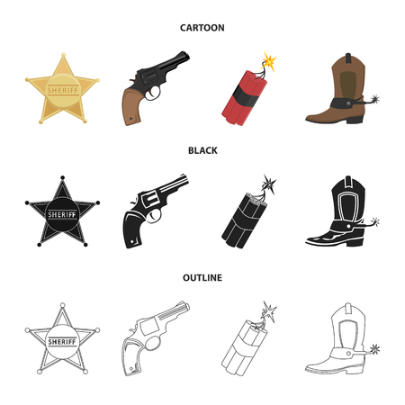 Star sheriff, Colt, dynamite, cowboy boot. Wild West set collection icons in cartoon,black,outline style vector symbol stock illustration . Stok Fotoğraf - 100293284