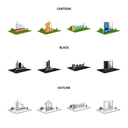 Processing factory,metallurgical plant. Factory and industry set collection icons in cartoon,black,outline style isometric vector symbol stock illustration .