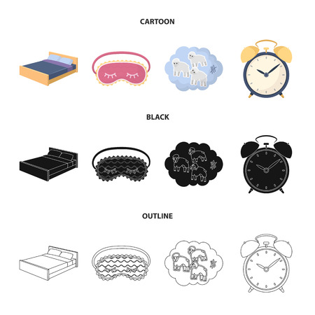 A bed, a blindfold, counting rams, an alarm clock. Rest and sleep set collection icons in cartoon,black,outline style vector symbol stock illustration