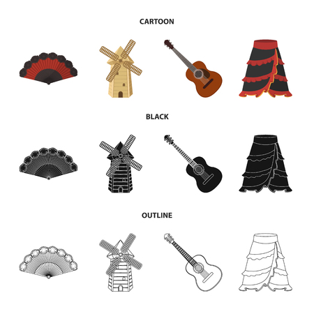 Fan Spanish, mill, guitar, skirt for national Spanish dances. Spain country set collection icons in cartoon,black,outline style vector symbol stock illustration .