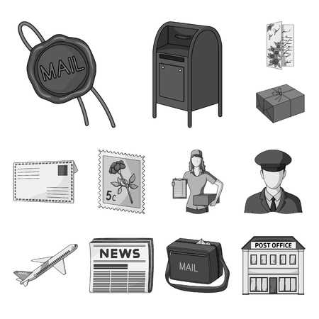 Mail and postman monochrome icons in set collection for design. Mail and equipment vector symbol stock  illustration. Vettoriali