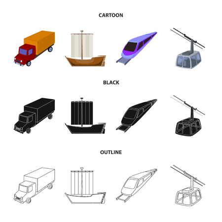 The truck, the boat, the subway, the funicular modes of transport. Transport set collection icons in cartoon,black,outline style vector symbol stock illustration . Illustration