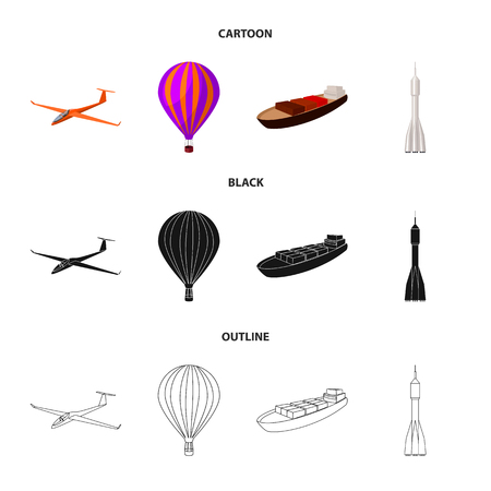 A drone, a glider, a balloon, a transportation barge, a space rocket transport modes. Transport set collection icons in cartoon,black,outline style vector symbol stock illustration .