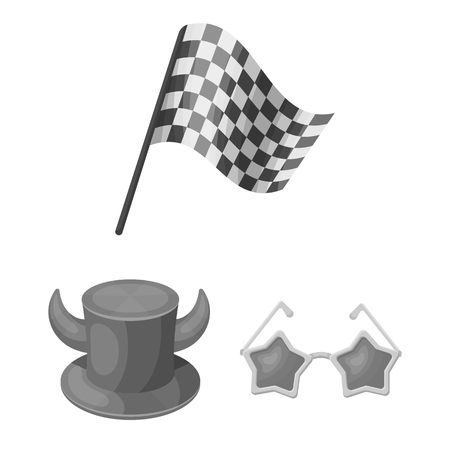 Fan and Attributes monochrome icons in set collection for design. Sports Fan vector symbol stock  illustration.
