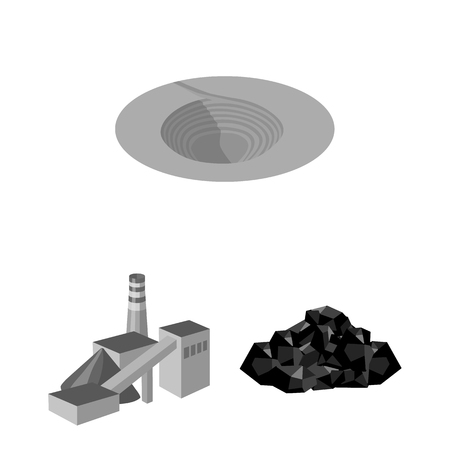 Illustration of mining industry monochrome icons in set collection design.