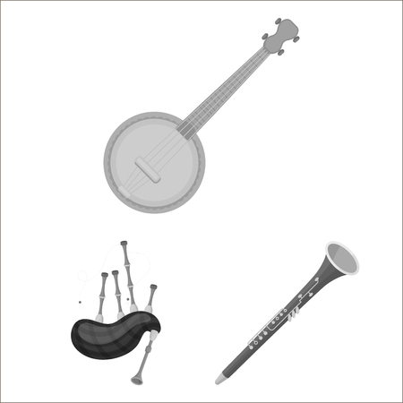 Musical instrument monochrome icons in set collection for design. String and Wind instrument vector symbol stock  illustration. Illustration