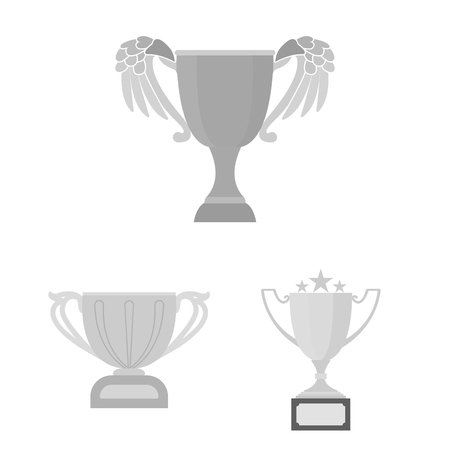 Gold Cup monochrome icons in set collection for design. Winners Cup vector symbol stock  illustration. 일러스트