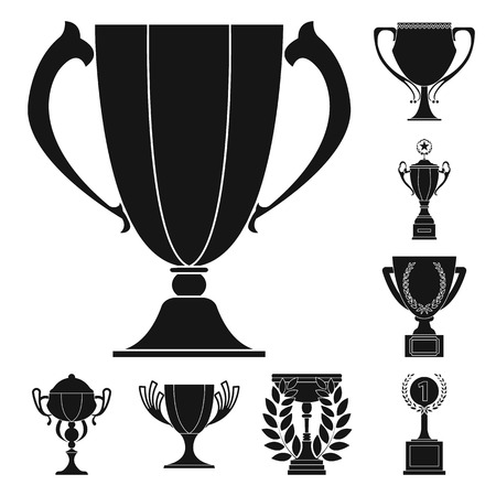 Gold Cup black icons in set collection for design. Winners Cup vector symbol stock web illustration.