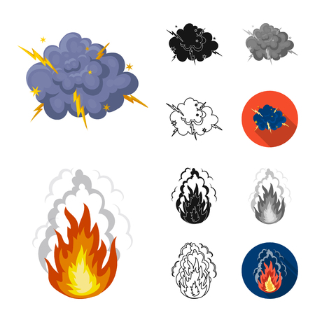 Different explosions cartoon,black,flat,monochrome,outline icons in set collection for design.Flash and flame vector symbol stock web illustration. Иллюстрация