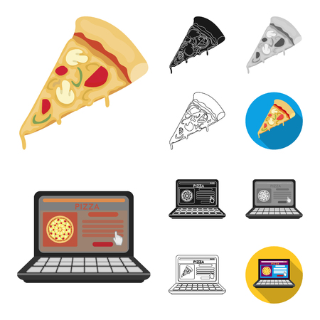 Pizza and pizzeria cartoon,black,flat,monochrome,outline icons in set collection for design. Staff and equipment vector symbol stock web illustration.