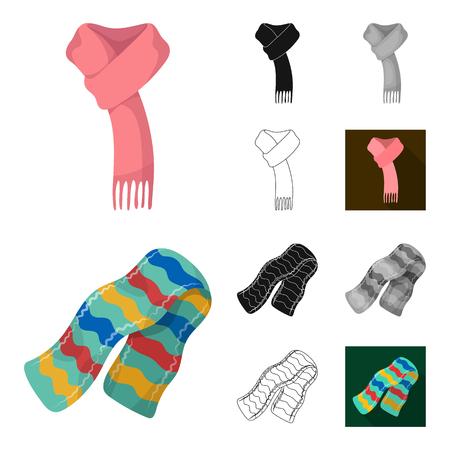 Schal und Schal Cartoon, schwarz, flach, monochrom, Umrissikonen in der Set-Sammlung für Design.Kleidung und Zubehör Vektor Symbol Lager Illustration.