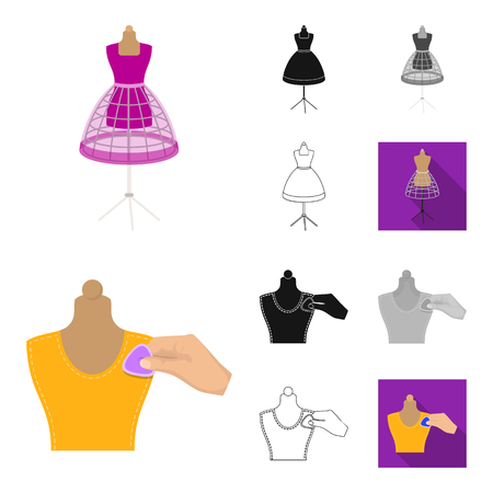 Atelier and equipment cartoon,black,flat,monochrome,outline icons in set collection for design. Sewing of outer clothing vector symbol stock  illustration. Illustration