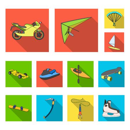 Extreme sport flat icons vector illustration set