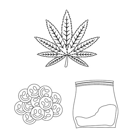Drug addiction and attributes outline icons in set collection for design. Addict and Drug vector symbol stock web illustration. Vetores