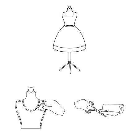 Atelier and equipment outline icons in set collection for design. Sewing of outer clothing vector symbol stock web illustration. Illustration