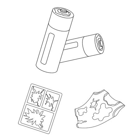 Garbage and waste outline icons in set collection for design. Cleaning garbage vector symbol stock  illustration.