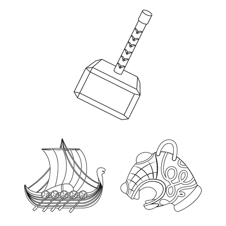 Vikings and attributes outline icons in set collection for design.Old Norse Warrior vector symbol stock web illustration. Stok Fotoğraf - 100683082