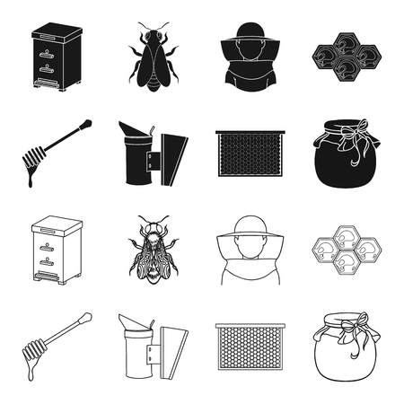 A frame with honeycombs, a ladle of honey, a fumigator from bees, a jar of honey.Apiary set collection icons in black,outline style vector symbol stock illustration web. Illustration