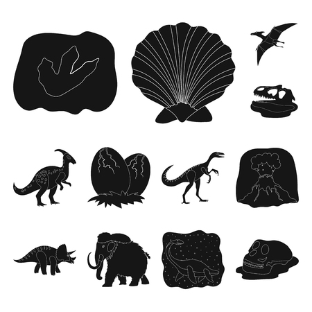 Different dinosaurs black icons in set collection for design. Prehistoric animal vector symbol stock web illustration. Ilustrace