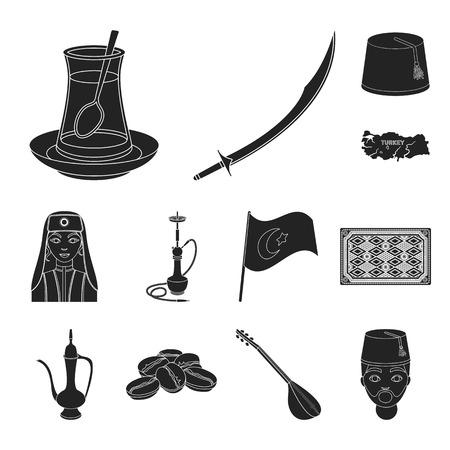デザイン用セットコレクションにトルコの黒いアイコン。旅行やアトラクションベクトルシンボルの株式ウェブイラスト。