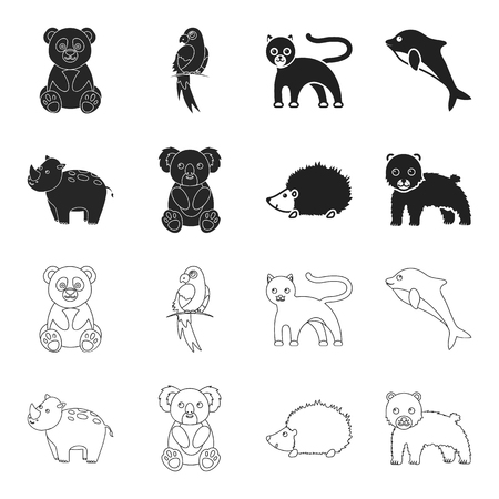 Rhino, koala, panther, hedgehog.Animal set collection icons in black,outline style vector symbol stock illustration web. Illustration