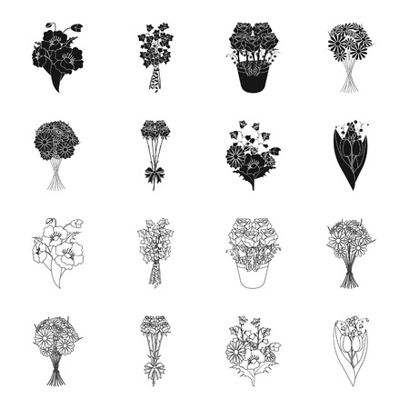 A bouquet of fresh flowers black,outline icons in set collection for design. Various bouquets vector symbol stock web illustration.