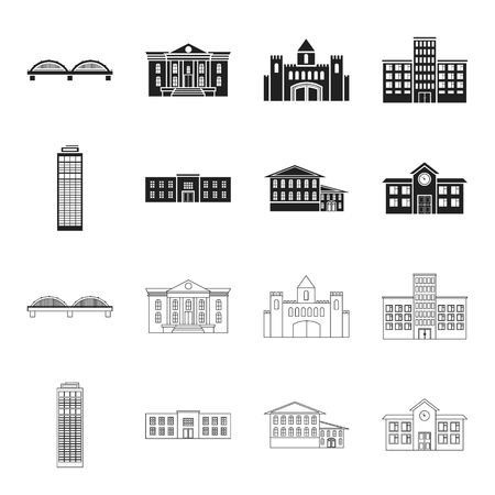 Skyscraper, police, hotel, school.Building set collection icons in black,outline style vector symbol stock illustration web.