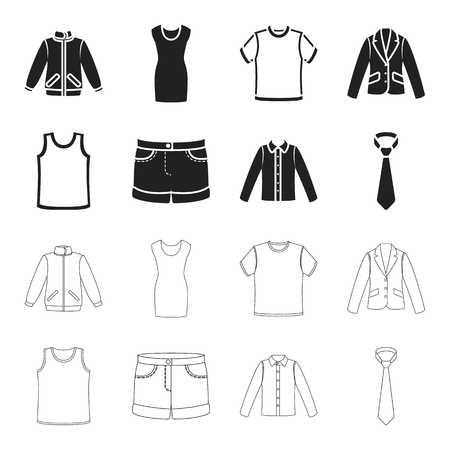 Shirt with long sleeves, shorts, T-shirt, tie.Clothing set collection icons in black,outline style vector symbol stock illustration web.