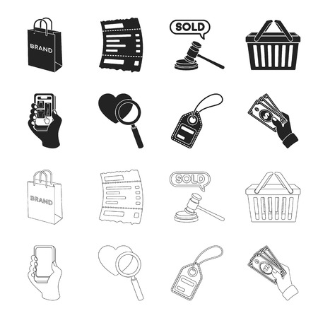 Hand, mobile phone, online store and other equipment. E commerce set collection icons in black,outline style vector symbol stock illustration web. Illustration