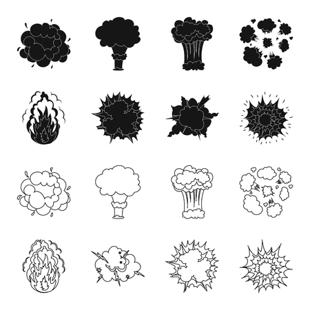 Flame, sparks, hydrogen fragments, atomic or gas explosion, thunderstorm, solar explosion. Explosions set collection icons in black,outline style vector symbol stock illustration web. Ilustração