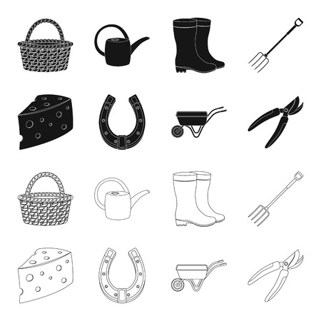 Cheese with holes, a trolley for agricultural work, a horseshoe made of metal, a pruner for cutting trees, shrubs. Farm and gardening set collection icons in black,outline style vector symbol stock illustration web.