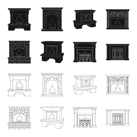 Fire, warmth and comfort.Fireplace set collection icons in black,outline style vector symbol stock illustration web. 向量圖像