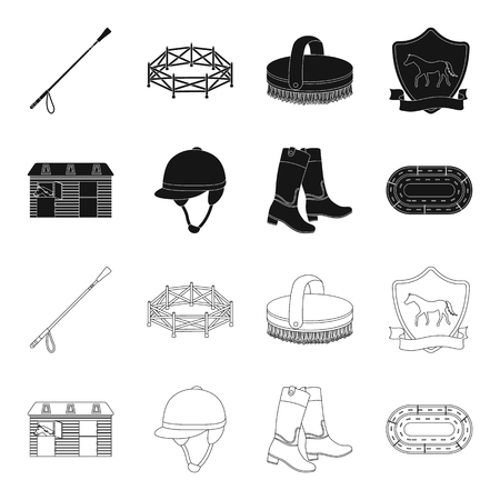 Boots, grass, stadium, track, rest .Hippodrome and horse set collection icons in black,outline style vector symbol stock illustration web.