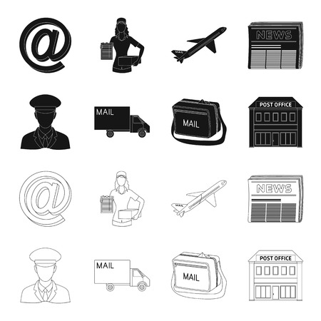 The postman in uniform, mail machine, bag for correspondence, postal office.Mail and postman set collection icons in black,outline style vector symbol stock illustration web.
