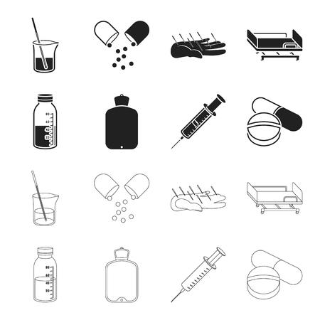 Solution, warmer, syringe, pills.Medicine set collection icons in black,outline style vector symbol stock illustration web. Illustration
