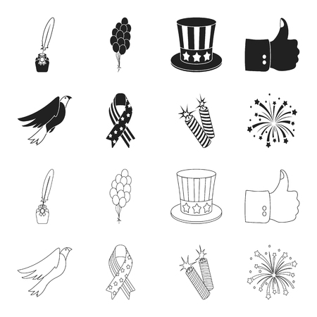 American eagle, ribbon, salute. The patriot day set collection icons in black,outline style vector symbol stock illustration web.