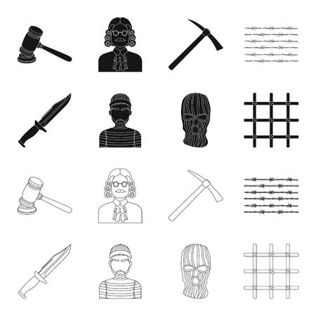 Knife, prisoner, mask on face, steel grille. Prison set collection icons in black,outline style vector symbol stock illustration web.