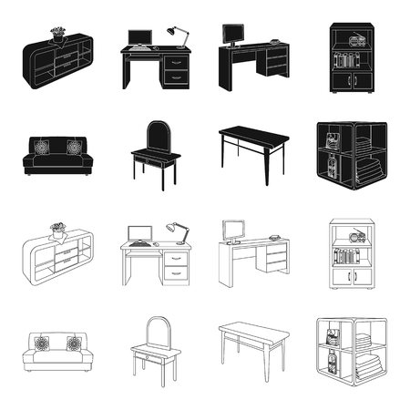 Soft sofa, toilet make-up table, dining table, shelving for laundry and detergent. Furniture and interior set collection icons in black,outline style isometric vector symbol stock illustration web.