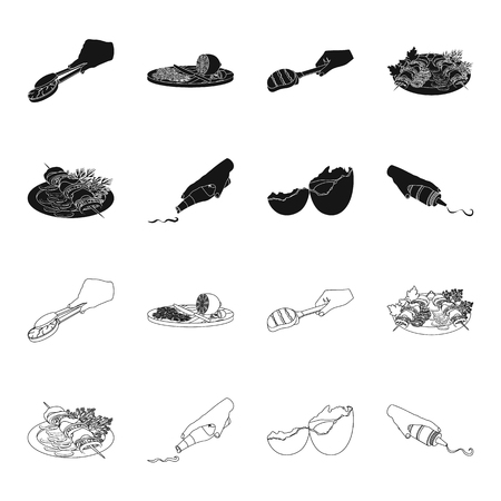 Shish kebab with vegetables, ketchup and mustard, seasoning for food, broken egg. Food and Cooking set collection icons in black,outline style vector symbol stock illustration web.