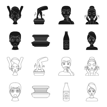 Face mask, solarium, bottle ts lasenom, pimples on face. Skin Care set collection icons in black,outline style vector symbol stock illustration web.