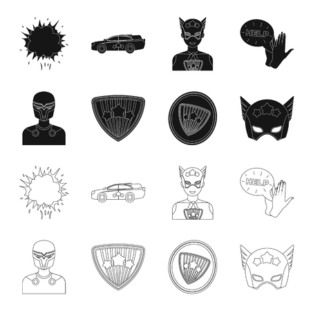 Man, mask, cloak, and other web icon in black,outline style.Costume, superhero, superforce, icons in set collection. Illustration