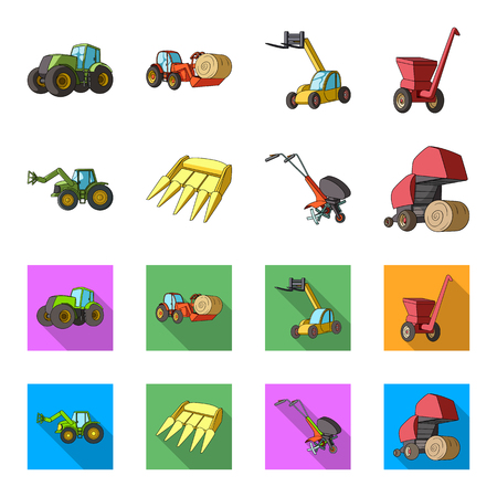 Motoblock and other agricultural devices. Agricultural machinery set collection icons in cartoon,flat style vector symbol stock illustration web.
