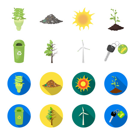 A garbage can, a diseased tree, a wind turbine, a key to a bio car.Bio and ecology set collection icons in cartoon,flat style vector symbol stock illustration web.