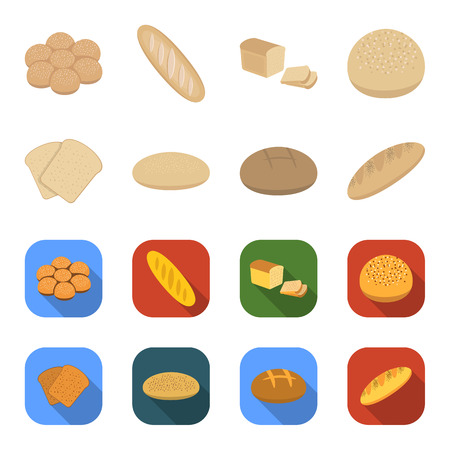 Bread set collection icons Illustration