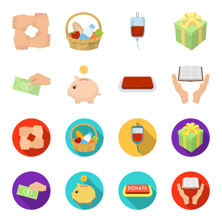 Hand with money for poshestvovaniya, a piggy bank for charity, a button with an inscription, a book for the blind in their hands. Charity and donation set collection icons in cartoon,flat style vector symbol stock illustration web.
