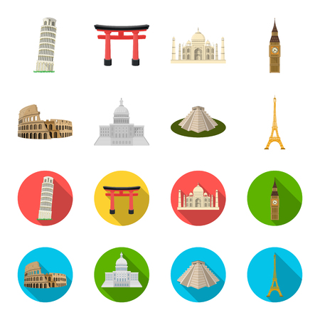 Sights of different countries cartoon,flat icons in set collection for design. Famous building vector symbol stock web illustration. Illustration