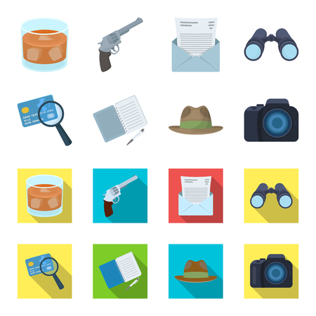 Camera, magnifier, hat, notebook with pen.Detective set collection icons in cartoon,flat style vector symbol stock illustration web. Stock Vector - 100684219